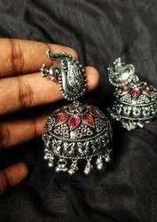 Party Wear Brass Jumbo Peacock Jhumka