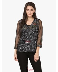 Embellished Embroidered Work Top With the Attached Lining