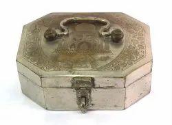 Indian Muti-Compartment Paan Daan Box Taj Mahal Engraved Antique. G7-955
