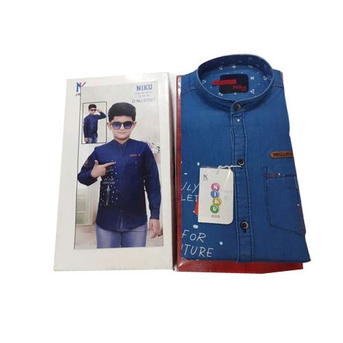 Full Sleeves Kids Blue Denim Shirt