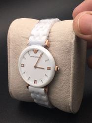 Emporio Armani White Ceramic Watch for Ladies, For Daily