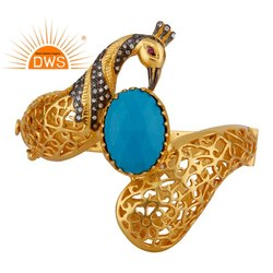 Indian Handmade Peacock Traditional Gold Plated Fashion Bangle Jewellery