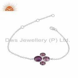925 Sterling Fine Silver Amethyst Gemstone Bracelets
