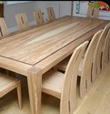 Applewood Brown Natural Wooden Dining Table And Chair, Seating Capacity: 10 Seater