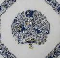 Living Room Marble Coffee Table Top Lapis Lazuli Inlay Arts