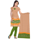 Cotton Silk Skin With Green Bandhani Stylish Suit