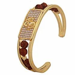 Rudraksh American Diamond Gold Plated Om Cuff Kada Bracelet For Men & Women