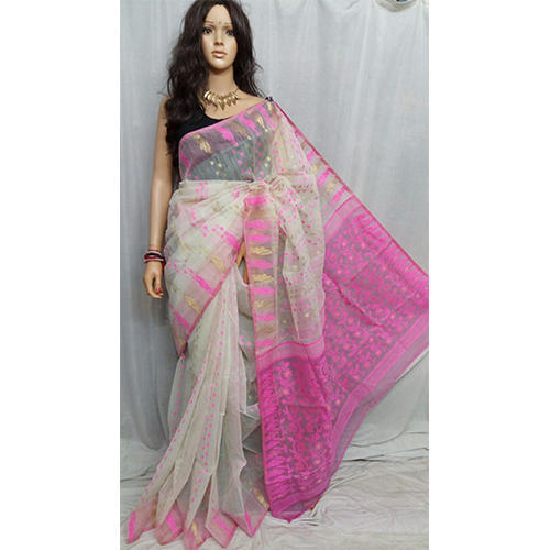 1122c7943faef Cotton Dhakai Jamdani Saree Without Blouse Piece