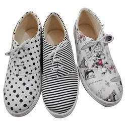 Printed Casual Wear Ladies Lace Up