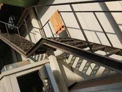 Straight Run Stainless Steel Stair