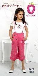 Girl Charming Rust Print Dungaree And Cream Top With Embroidery