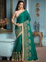 Indian Beautiful Designer Georgette Embroidered Party Wear Green Saree