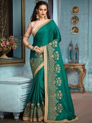 8d186351a Indian Beautiful Designer Georgette Embroidered Party Wear Green Saree