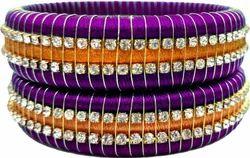 Purple And Golden Silk Threads Bangels Set