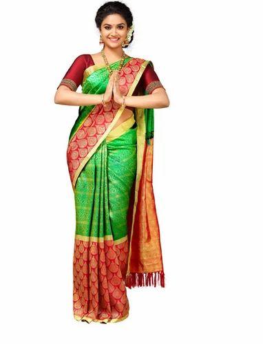 41e68b9334 Vivaha Bridal Pure Kanchipuram Silk Saree, 6.20 Mtrs ( Including Blouse  Lenght)