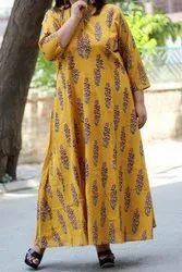 Yellow SH brand Shreehandlooms Ladies Designer Long Dress