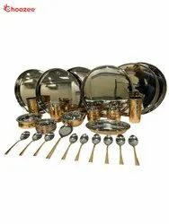 Copper / Stainless Steel Thali Set (38 Pcs) for 6 People