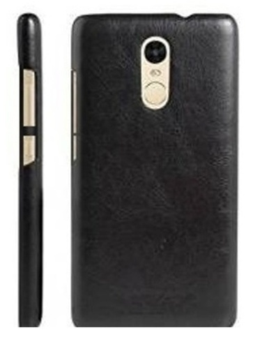 detailed look 76b12 e6b98 Back Cover For Xiaomi Redmi Note 4 (leather Feel) Clr Black