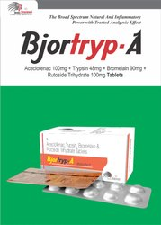 Trypsin 48mg  Bromelain 90mg Rutoside Trihydrate 100mg   Aceclofenac 100mg