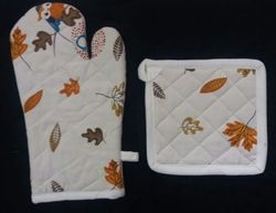 Printed On Top & Plain On Bottom 100% Cotton Oven Mitten & Pot Holder, Size: 17x17 cm