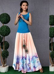 Women''''s Floral Printed Long Skirts