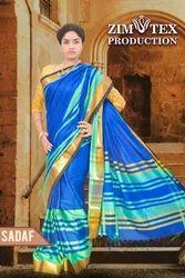 Silk Blue Ladies Party Wear Saree, Dry Clean