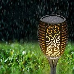 Solar Powered Light with Flickering Flame Light