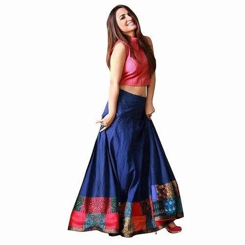 f6ebcd3642a61b Semi-Stitched Ladies Banglori Silk Trendy Crop Top Lehenga, Rs 689 ...