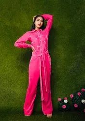 Hot Pink Velvet Off White Heart Embroidered Jumpsuit With Belt