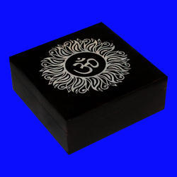 Black Color Soapstone Carved Box