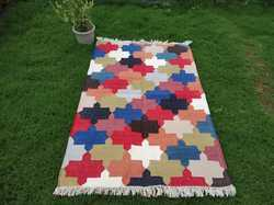 Cotton Rug, Flat Weave Rug, Multi Color  Rug, Handmade Rug, Cotton Dhurrie