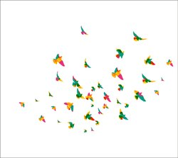 Decor Kafe Flying Birds Decorative Wall Sticker PVC Vinyl, (81cm x 117cm)