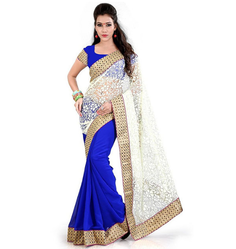 Net Embroidered Fancy Sarees, Length: 6.3 m