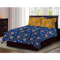 Bombay Dyeing Axia Classy Modern Blue Floral Print Cotton 104 TC Double Bed Sheet with Two Yellow
