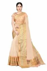 Organza Tissue Net Party Wear Saree with Embroidered Blouse