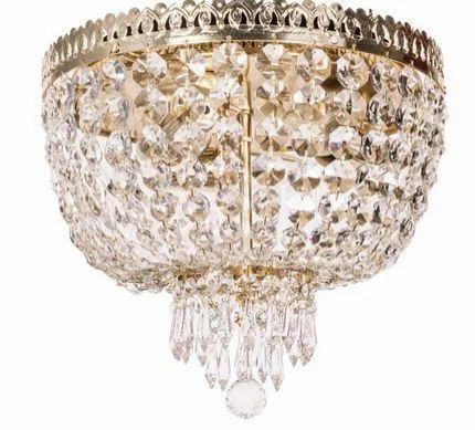 Metropolitan Crystal Golden 3 Light Flush Ceiling