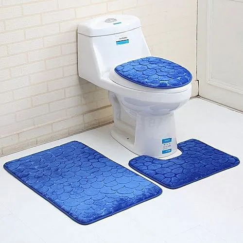 Excellent Blue Bathroom Rug And Toilet Seat Cover Set Gmtry Best Dining Table And Chair Ideas Images Gmtryco
