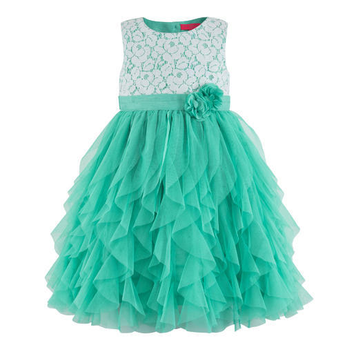 042b981ab Age-2-3 To 6-7 Years Sea Green Waterfall Girls Party Dresses