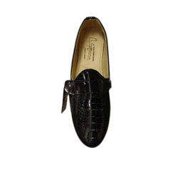 Mens Party Wear Black Rexine Shoe, Size: 6 to 10, Packaging: Box