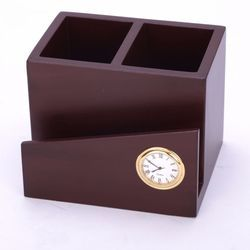 Brown Wooden Pen Stand with Card Holder