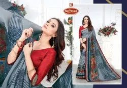 Printed Vichitra Saree with Lace - Reebone