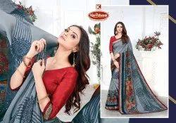 Printed Vichitra Saree with Lace - Reebone