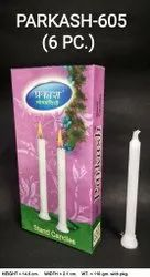 Parkash-605 Plain White Candles (6 Pcs / Pkt)