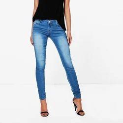 Stretchable Blue Ladies Skinny Jeans, Waist Size: 30.0