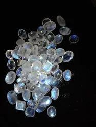 White Rainbow Moonstone Flat Faceted Stones