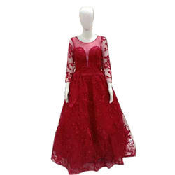 Maroon Party Ladies Stylish Gown