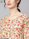 Nayo Beige Colored Floral Printed Straight Kurta