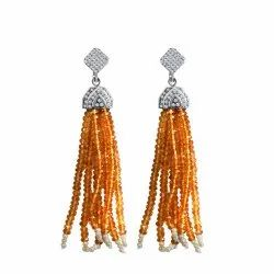 Orange Sapphire Sterling Silver Earrings