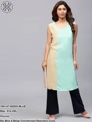Colorblocked Sleeveless Kurta