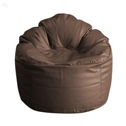 Leatherette Brown Plain Bean Bag
